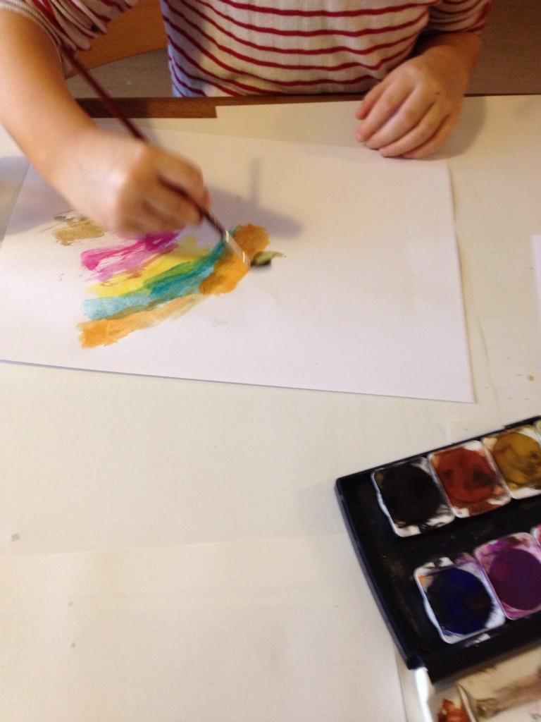 Young avant-gardist artist at work.
