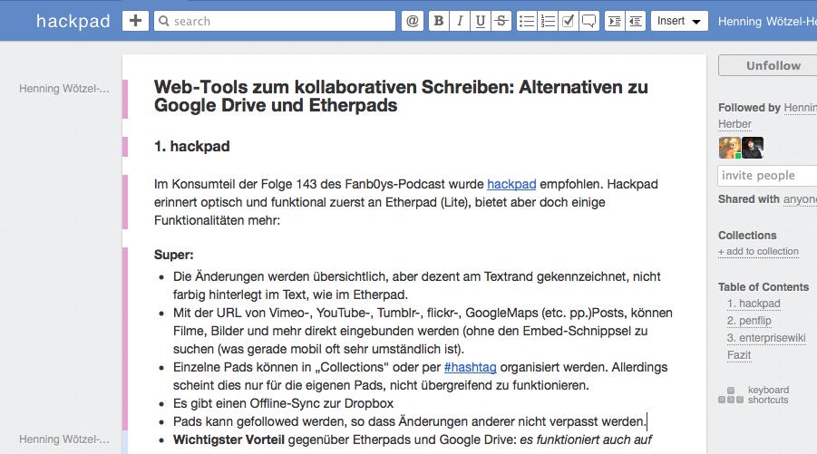 Screenshot von hackpad
